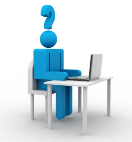 Figure with question mark for head typing on laptop.